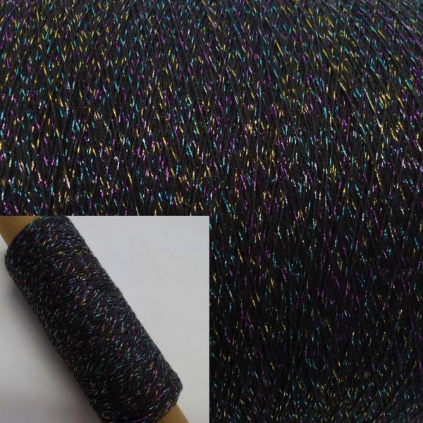 Glitzer Beilaufgarn Anthrazit-Multicolor - 200m