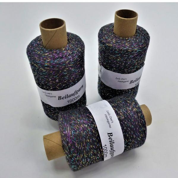 Glitzer Beilaufgarn Anthrazit-Multicolor - 3000m - (Packung)