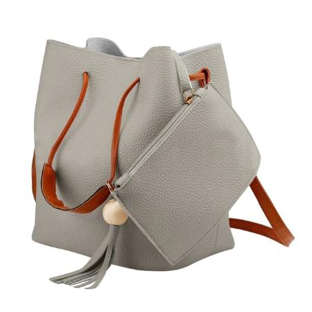 Modisches Utensilo aus Kunstleder - Bobbel Bag - Silber