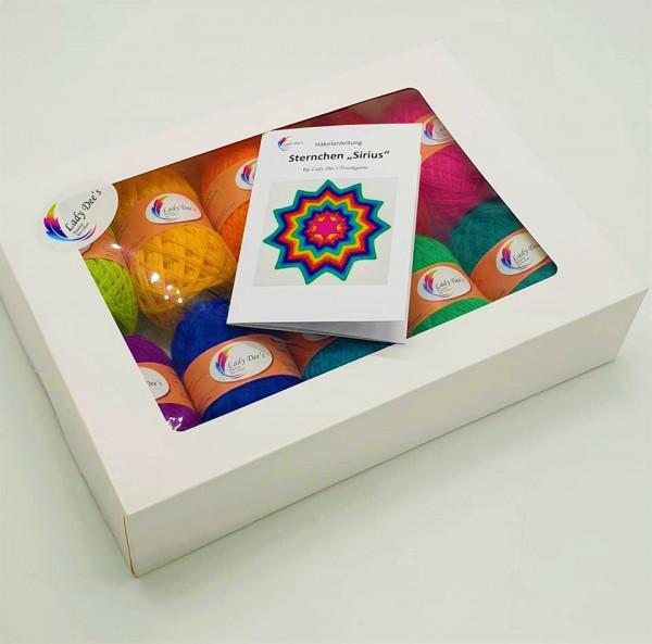 """Lady Dee's Uni Box (10 x 50g Knallerfarben) + Anleitungsheft Sternchen """"Sirius"""""""